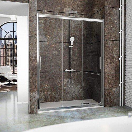 Mampara frente de ducha con 3 puertas correderas - Puerta corredera de aluminio ...