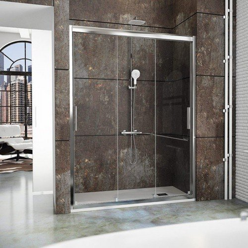 Mampara frente de ducha 3 puertas correderas ct101 for Oferta puerta corredera