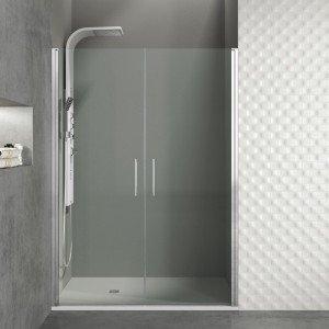 Mampara de ducha con 2 puertas abatibles 180 grados
