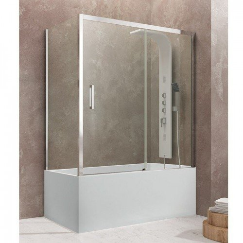 Mampara de bañera rectangular dos fijos más corredera