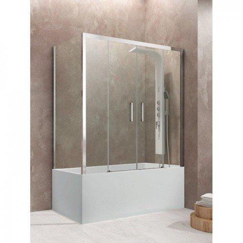 Mampara bañera rectangular 3 fijo más 2 correderas GME