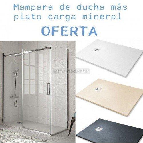 OFERTA INOX Mampara rectangular más plato de ducha
