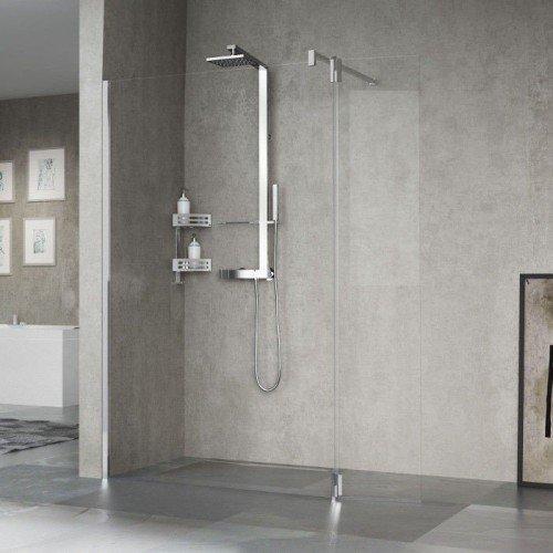 Mampara de ducha fija novellini kali h con puerta giro 180 - Mamparas abatibles para ducha ...