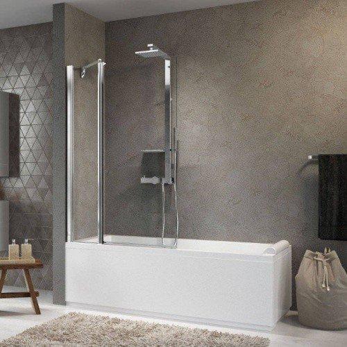 Mampara de bañera 1 fijo + puerta 180 giratoria Novellini Aurora 3