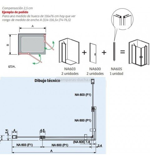Mampara rectangular plegable más lateral fijo Nardi