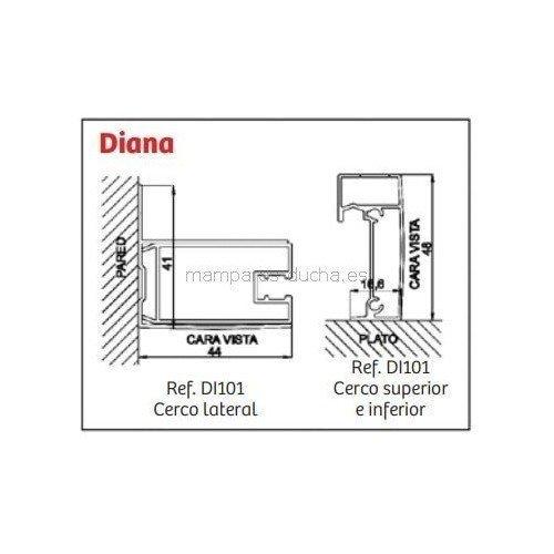 Mampara angular 2 Fijo + Puertas correderas Diana Serigrafia