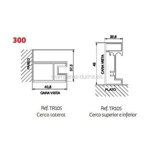 Angular de ducha 2 Fijos + 2 Puertas correderas Serie 300