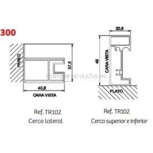 Mampara de ducha fijo + puerta corredera