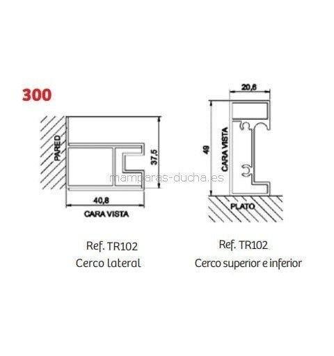 Mampara de ducha angular + puerta corredera serie 300