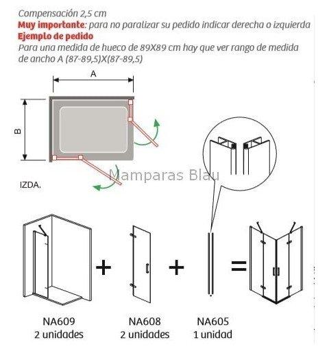 Mampara vértice 2 fijos y 2 puertas abatibles con bisagras