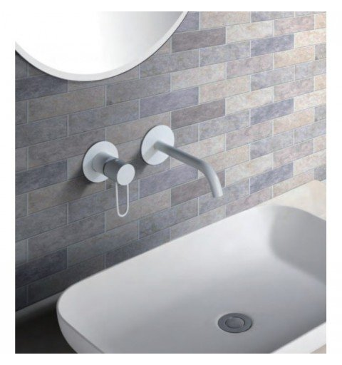 Grifo blanco empotrado de lavabo Milos IMEX