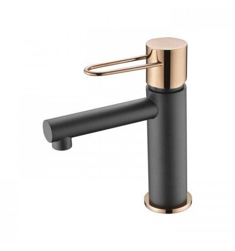 Grifo negro y oro rosa de lavabo Milos IMEX