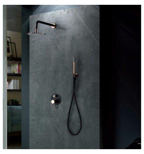 Ducha negra y oro rosa empotrada pared Milos IMEX
