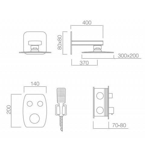 Ducha termostática empotrada pared Hidra IMEX