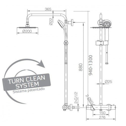 Columna termostática de ducha Kent IMEX