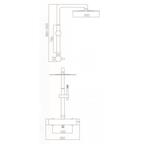 Columna de ducha Acero Moscu IMEX