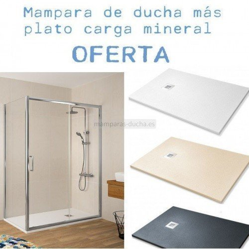 Oferta mampara rectangular bella plato de ducha plato for Plato de ducha 60x60