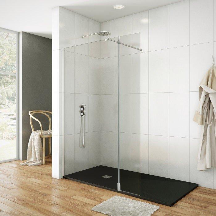 Mampara de ducha fijo más abatible bisagras 180º
