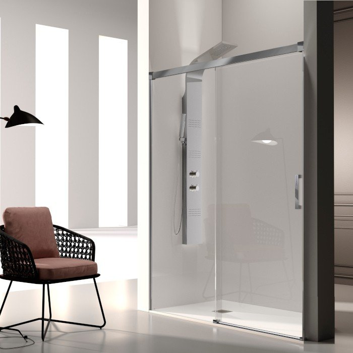 Mampara ducha 1 fijo + 1 puerta corredera glasé