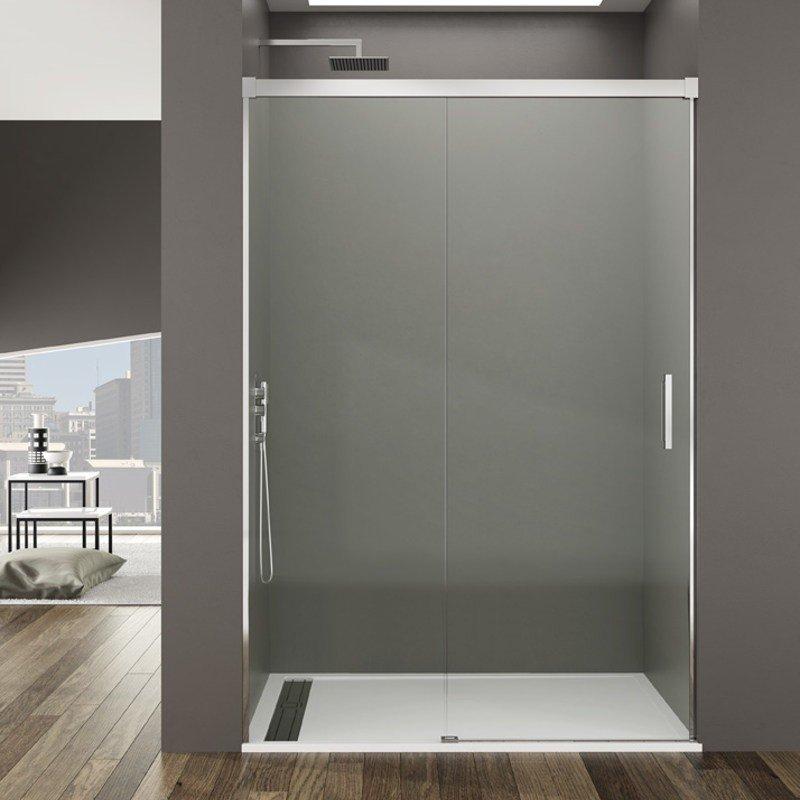 Mampara de ducha frontal 1 fijo y 1 corredera basic gme minimalista - Montaje mampara ducha ...